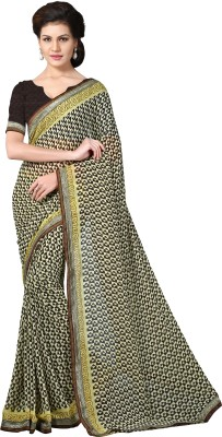 Livie Geometric Print Bollywood Chiffon Saree(Multicolor) at flipkart
