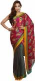 Araham Printed Bandhani Synthetic Saree ...