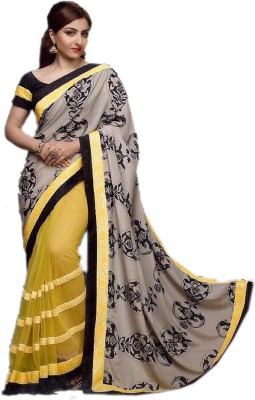 Indus Trends Printed, Applique Lehenga Saree Net, Crepe Sari