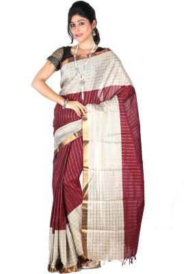 Srijoni Kuthir Self Design Fashion Handloom Cotton Sari