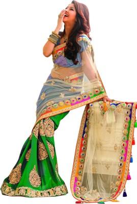 Asha Fashion Embellished, Embriodered, Solid Fashion Chiffon, Net Sari