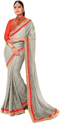 Hoor Self Design Fashion Satin, Jacquard, Chiffon Sari