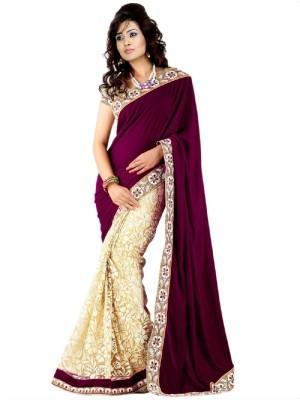 SJTrendz Self Design Fashion Velvet, Brasso, Net, Art Silk Sari