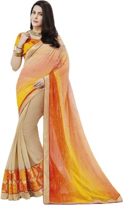 Prachi Silk Mills Embriodered Fashion Georgette Sari