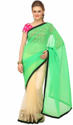 Lime Fashion Printed Daily Wear Chiffon Sari