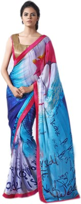 Odhni Printed Fashion Satin, Georgette Sari