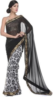Aarohii Printed, Solid Bollywood Georgette Sari