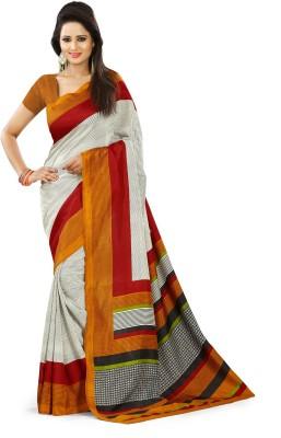 SGM Self Design, Geometric Print, Striped, Printed Fashion Art Silk Sari