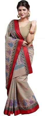 M.S.Retail Printed Gadwal Cotton Saree(Gold) at flipkart