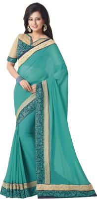 Palav Fabrics Embriodered, Plain, Embellished Bollywood Georgette Sari