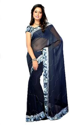 Sasha Drapers Floral Print Daily Wear Synthetic Sari