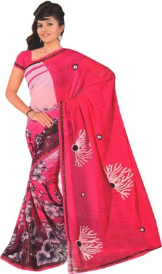 Js Club Printed, Embriodered Bollywood Georgette Sari