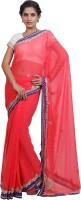 Adaab Embroidered Fashion Chiffon Saree(Red)