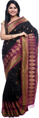 BlackBeauty Woven Gadwal Handloom Pure Silk Saree(Black, Magenta) at flipkart