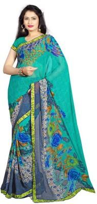 SkyBlue Fashion Printed Fashion Georgette Sari