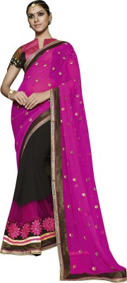 Shaily Embroidered Fashion Georgette Saree(Pink, Black) at flipkart