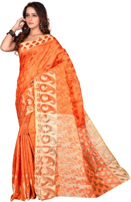 Viva N Diva Woven Daily Wear Banarasi Silk Saree(Orange) at flipkart