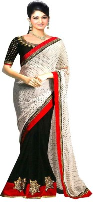 Stylo Designer Self Design Fashion Chiffon, Georgette Sari