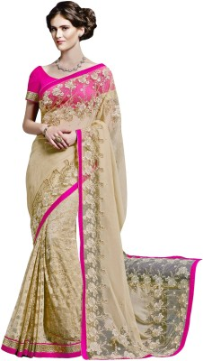 Jinaam Dress Embriodered Fashion Chiffon, Net Sari