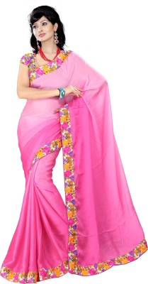 Anu Creation Floral Print Bollywood Satin Sari