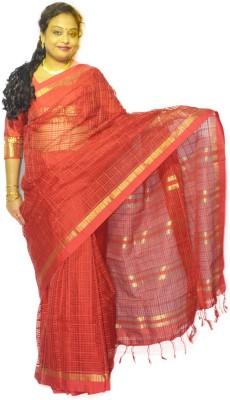 Fashion Gallery Checkered Tangail Silk Cotton Blend Sari