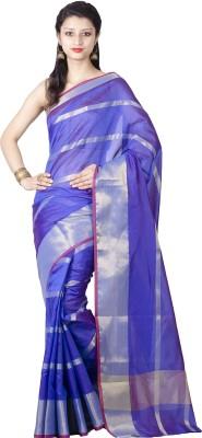 Chandrakala Striped Banarasi Silk Saree(Blue) at flipkart