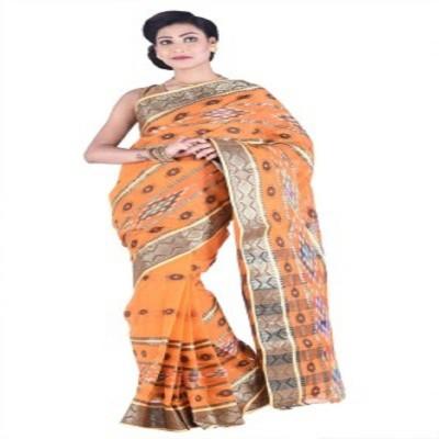 Badal Textile Self Design Tant Cotton Sari