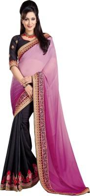 SareeShop Embroidered Fashion Georgette, Net Saree(Pink) at flipkart