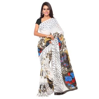 Goodfeel Polka Print Bollywood Chiffon Sari