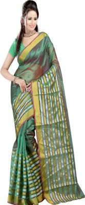 Ansu Fashion Solid Fashion Silk Saree(Green) at flipkart