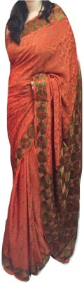 Phulkari The Floral India Embriodered Phulkari Crepe Sari