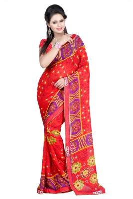 Sanskar Fashion Embellished Bandhani Silk Sari