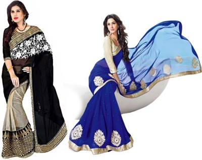 Sparkle Tradition Solid Bollywood Chiffon Sari
