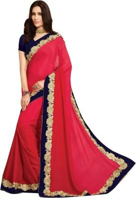 Shop Avenue Embellished Fashion Georgette, Velvet Sari