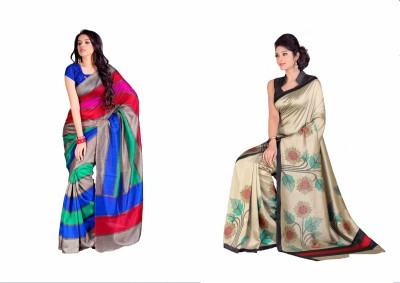 Swaranjali Striped, Floral Print Fashion Art Silk, Cotton Sari