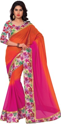 Sarvagny Clothing Solid, Floral Print Bollywood Pure Georgette Sari