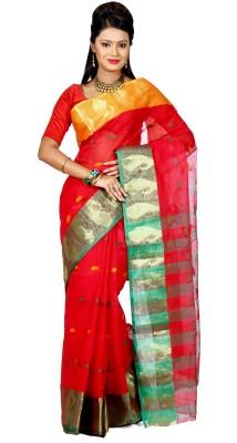 Badal Textile Solid Tant Handloom Cotton Sari