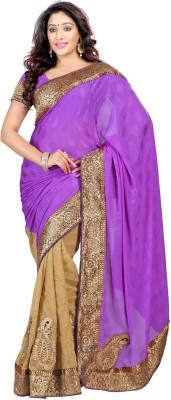 Jay Textile Self Design Fashion Silk Cotton Blend Sari