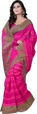 Bhavi Printed Fashion Art Silk Saree(Pink) at flipkart