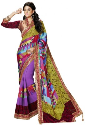 MAHOTSAV Self Design Fashion Net, Jacquard, Satin, Chiffon Saree(Multicolor) at flipkart