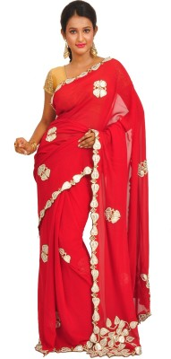 Anamika Collection Self Design Fashion Handloom Pure Georgette Sari