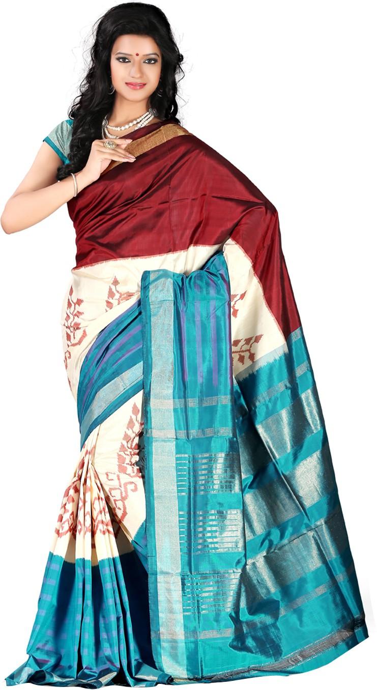 Roopkala Silks Printed Pochampally Handloom Pure Silk Saree(Multicolor)