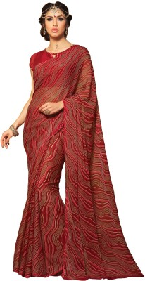 DESIGN WILLA Printed Leheria Chiffon Saree(Maroon) at flipkart
