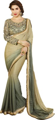 ARsalesIND Embriodered Fashion Jacquard, Georgette Sari
