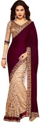 Spangel Fashion Embriodered Bollywood Velvet Sari