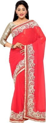 Saara Embroidered Fashion Georgette Saree(Red) at flipkart