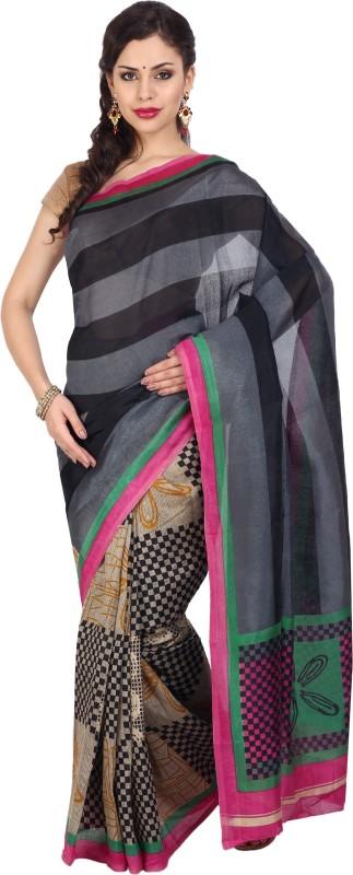 Aryahi Striped Daily Wear Art Silk Saree(Black)
