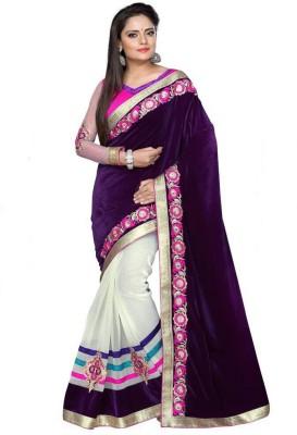 Chhaya Creation Embriodered Bollywood Velvet Sari