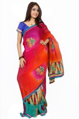 Creativz Hand Geometric Print, Self Design Bollywood Georgette Sari