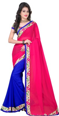Kuki Fashion Plain Rajkot Georgette Sari